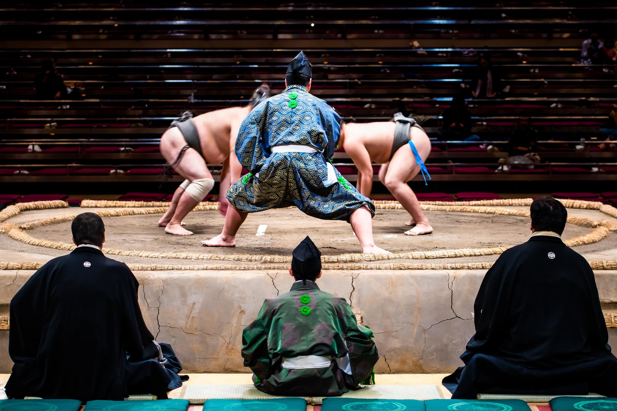 A gyoji, or sumo referee