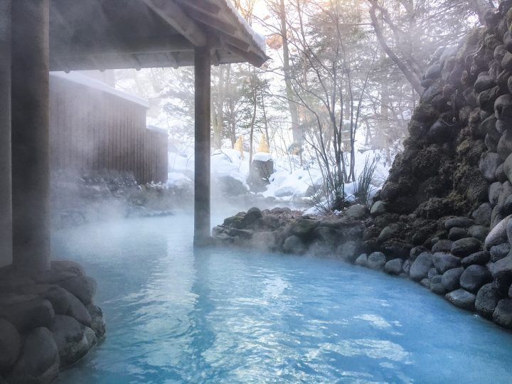 Azure waters in an open air hot spring in winter