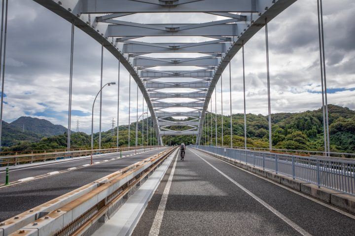 Wide view of a bridge and cycleway
