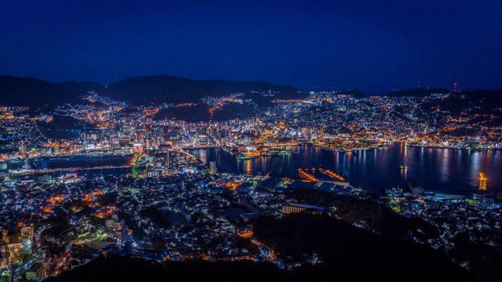 City night lights of Nagasaki seen from Mount Inasa lookout