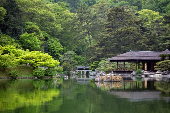 Peaceful bright green garden reflected on pond with an empty traditional building