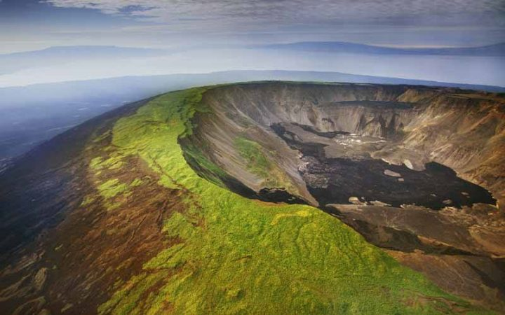 Aerial shot of a volcano in the Galapagos island