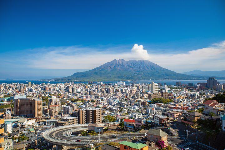 Kagoshima city, with a smoking Sakurajima volcano in the background