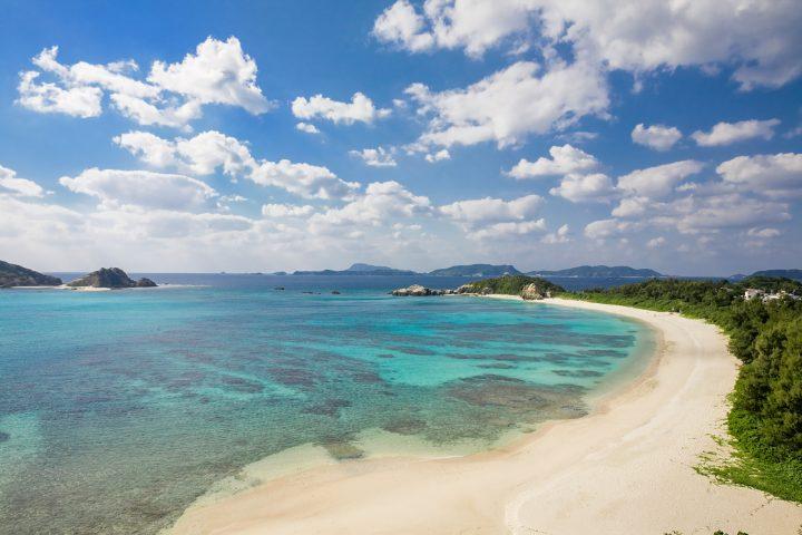 Bright blue waters in idyllic Japanese beach