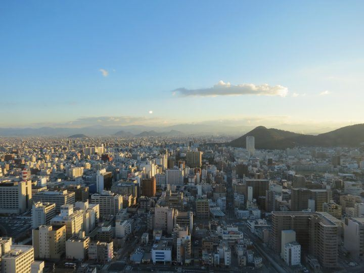 Views over Takamatsu from JR Clement Hotel's Bar Astro