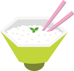 Illustration of chopsticks in rice in Japan