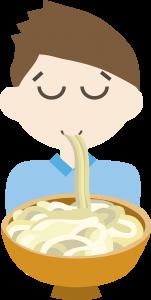 Illustration of a man slurping noodles