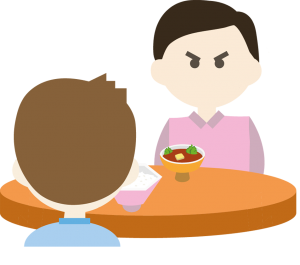 An illustration of two men eating dinner with poor dining etiquette