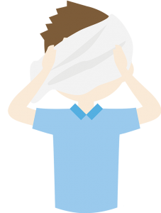 Illustration of a man using a towel on his face
