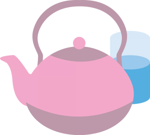 Illustration of a kettle and a glass of water
