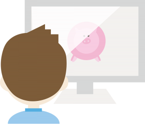 Illustration of a man looking at a pig