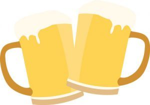 Illustration of two beer glasses clinking