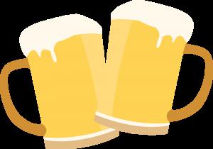 Illustration of beer glasses clinking