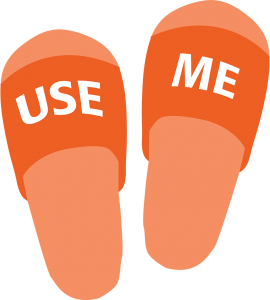 """Illustration of slippers saying """"Use me"""""""