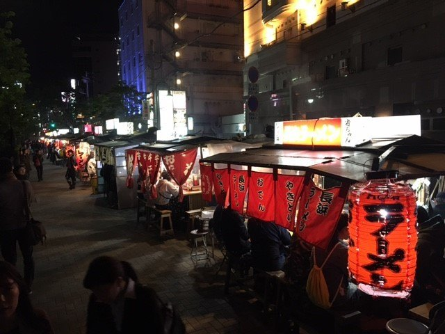 Street food stalls in Fukuoka, Japan