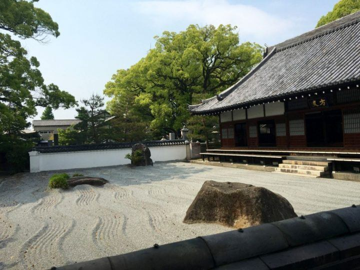 The sand of a Zen garden at Jojenji Temple, Fukuoka, Japan