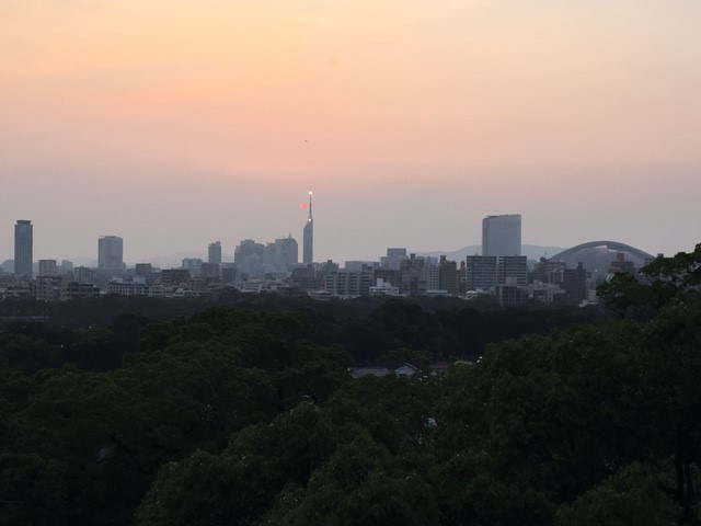 View from Fukuoka Castle ruins at dusk, Japan