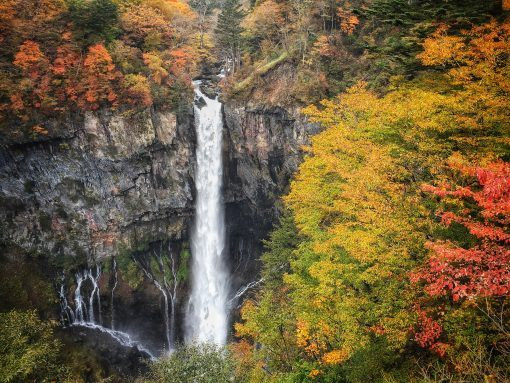 Nikko waterfall - Autumn leaves in Japan