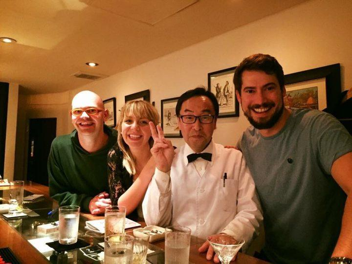 Tom and Lucy Wilson (Kanpai founders) in Japan with InsideJapan Tours tour leader