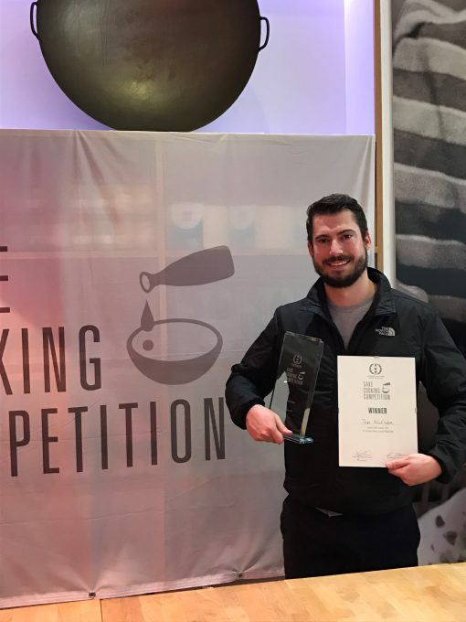 Tom Wilson winning a 'cooking with sake' competition