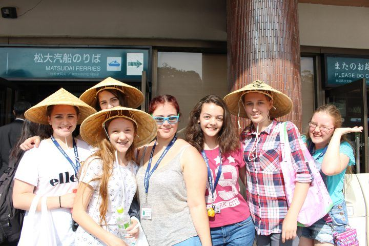 A group of teenagers on a school trip to Japan