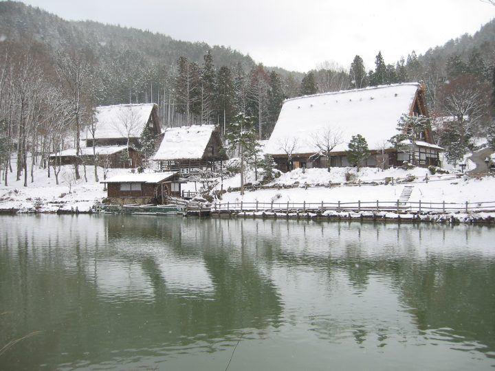 Hida Folk Village in Japan in the snow