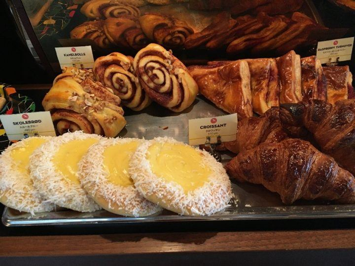 Cakes and pastries in Fuglen coffee shop in Tokyo