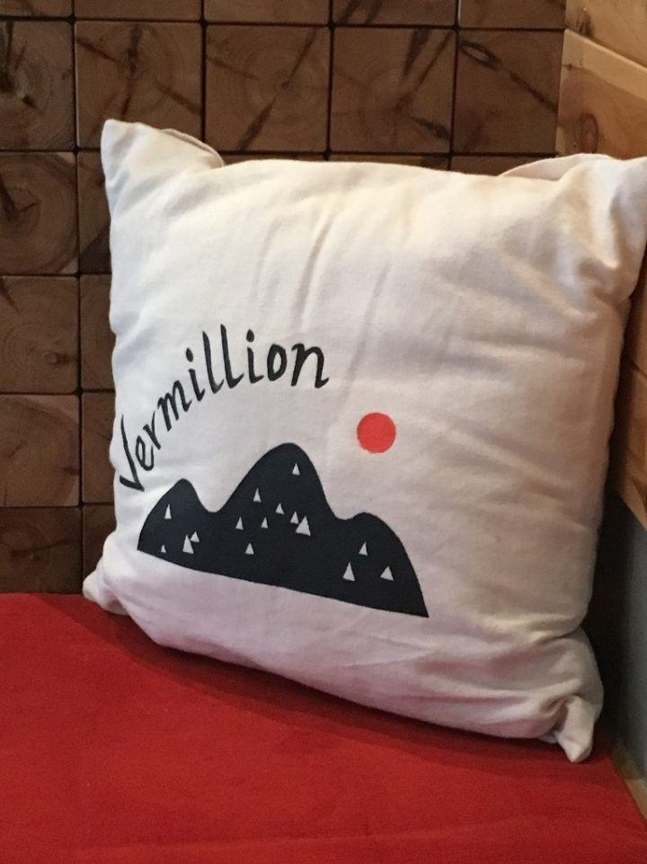Vermillion cushion in a coffee shop in Kyoto