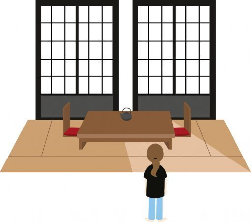 Illustration of a room in a ryokan