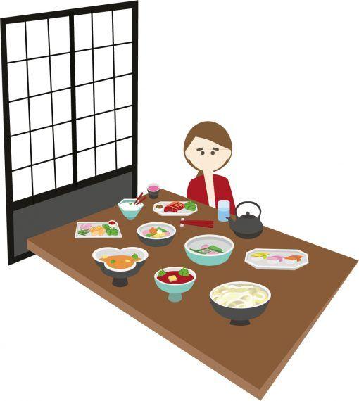 Illustration of kaiseki meal
