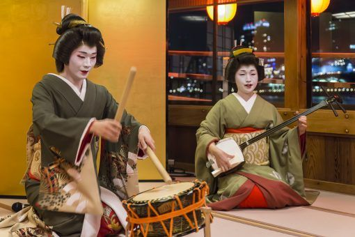 Geisha playing traditional instruments
