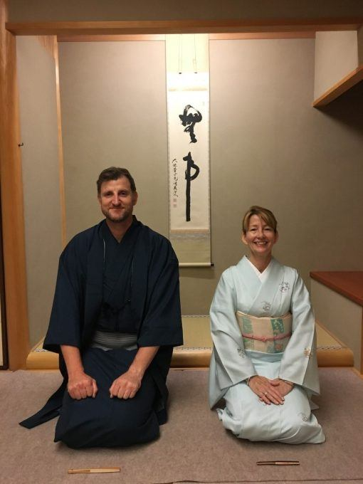 Ben and Erica James during Kimono Dressing Experience