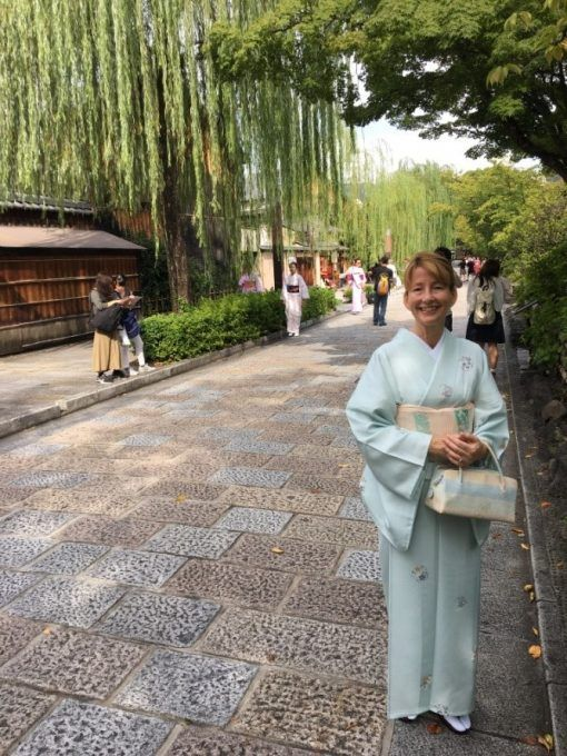 Erica James in Shimbashi-dori, Kyoto.