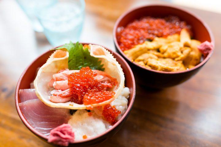 Ikura roe, sea urchin, fatty tuna and crab legs served on rice