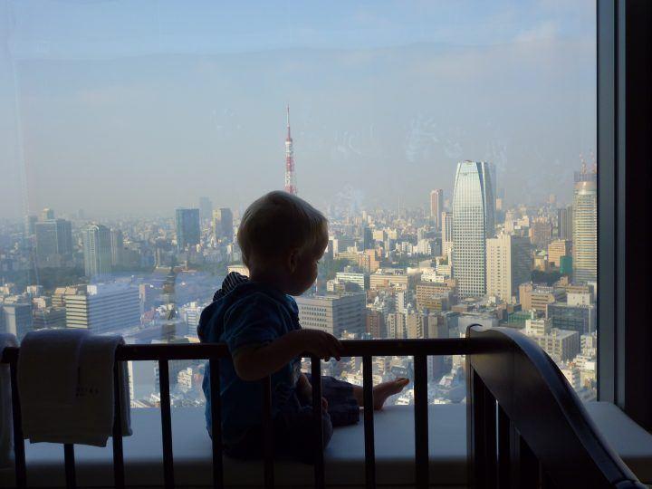 Toddler in Tokyo skyscraper