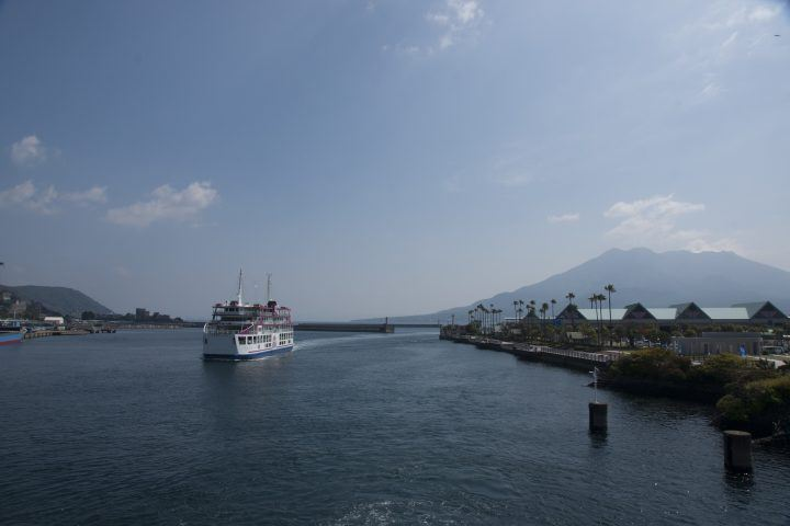 Ferry and sea, Kagoshima, Japan