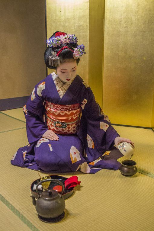 Maiko doing tea ceremony in Kyoto, Japan