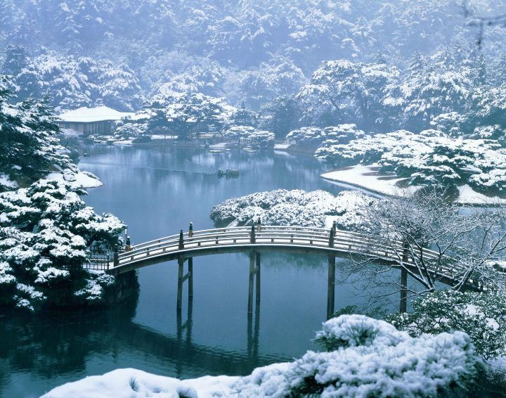 Ritsurin Garden in winter, Japan