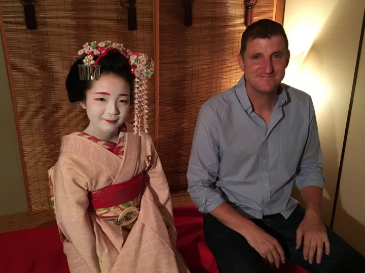 Tour leader Ben Walker and maiko