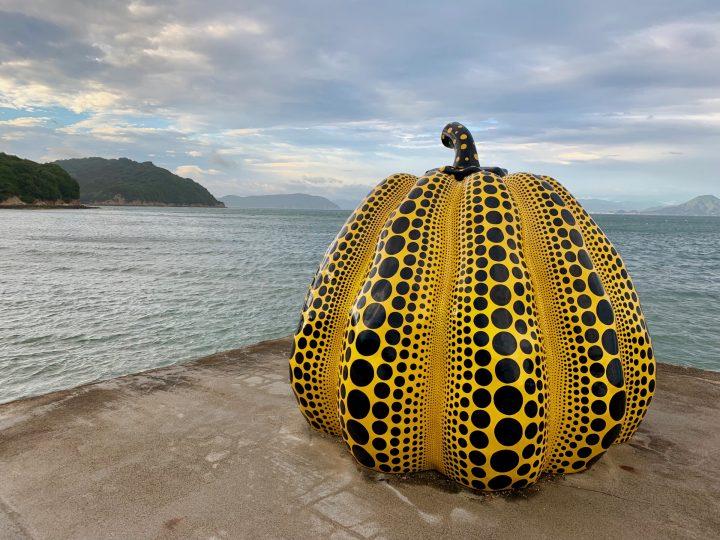 Yayoi Kusama pumpkin on Naoshima