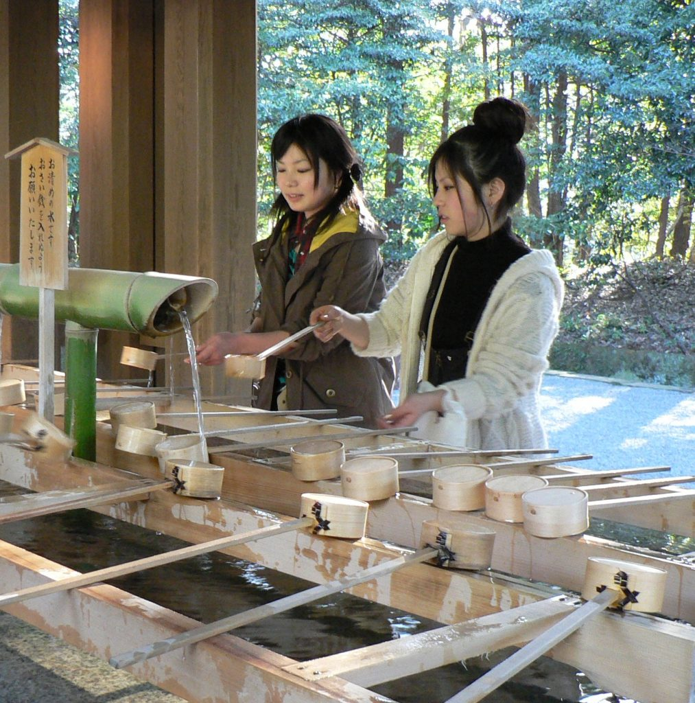 Purifying oneself at Meiji Jingu in Tokyo
