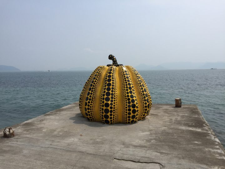 Kusama's pumpkin sitting on Naoshima
