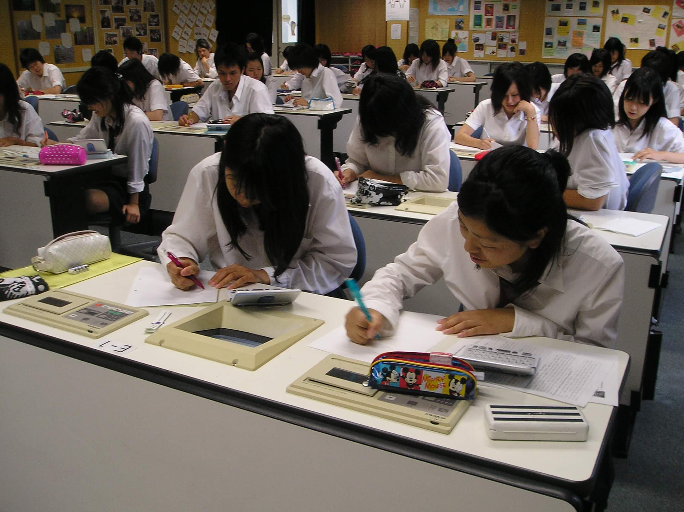Schoolchildren at their desks