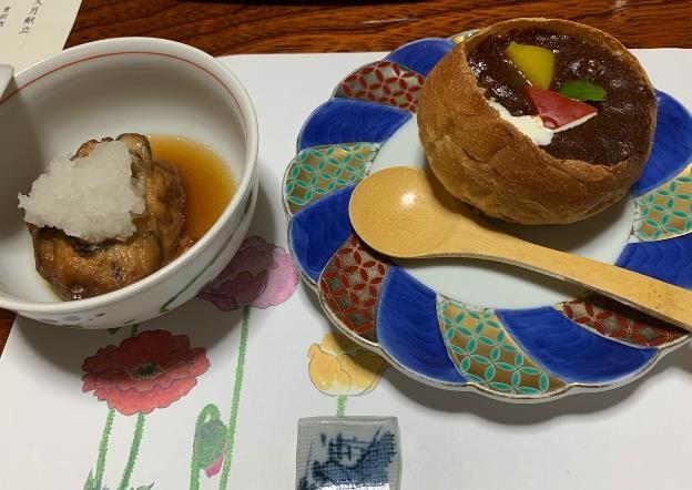 Beef stew served in bread at Kiya Ryokan in Misasa Onsen