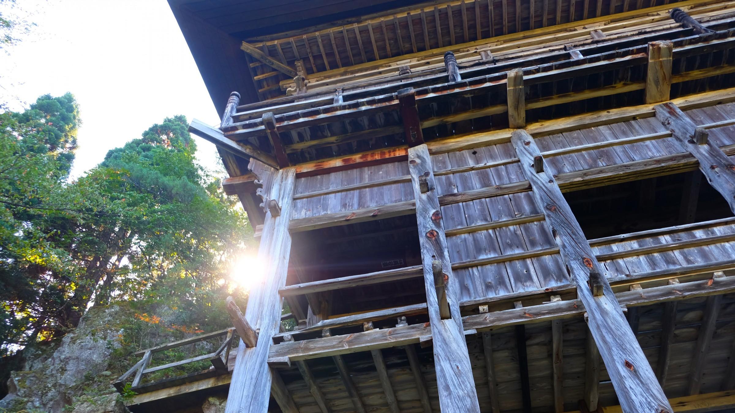 Sakudari Kannon, a stilted Buddhist temple built against a cliff face