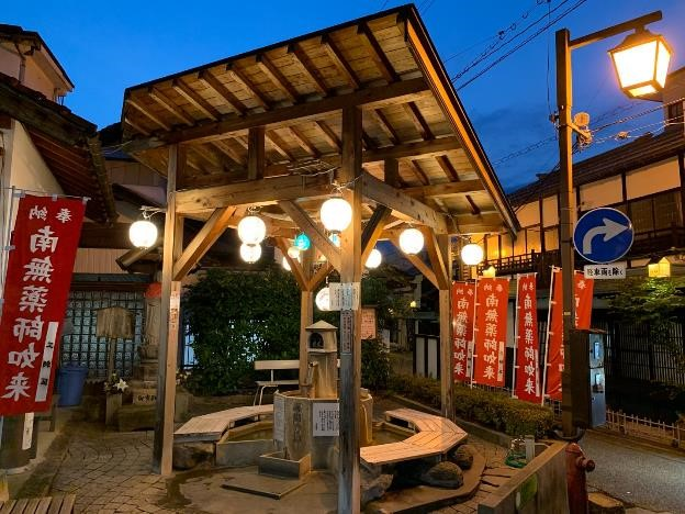 The Yakushi-no-Yu wooden foot bath structure in Misasa Onsen, near Tottori