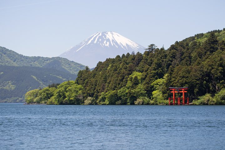 Lake in the foreground, with Fuji in the background
