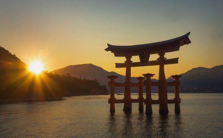 Silhouette of the torii gates in the island of Miyajima