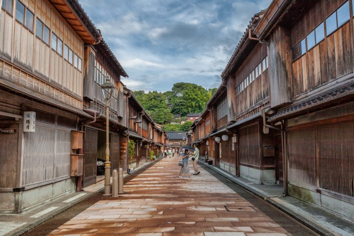 Traditional wooden buildings with people walking along the street