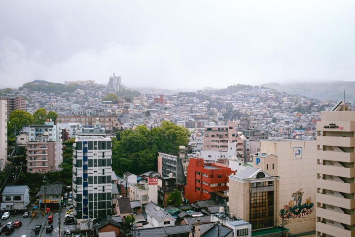 Buildings on hills in a cloudy day in Nagasaki